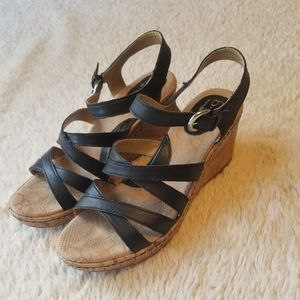 Boc Black Cork Wedge Edya Sandals Size 7 / 38
